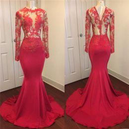 Sheer Red Evening Dress Australia - Vintage Sheer Long Sleeves Red Prom Dresses 2019 Mermaid Appliqued Sequined African Black Girls Evening Gowns Red Carpet Dress Abendkleid