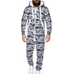 Foot Jumpsuits Australia - Men's Unisex Camouflage Jumpsuit One-piece garment Non Footed Pajama Blouse Hoodies Top Blouse Tracksuits moletom masculino