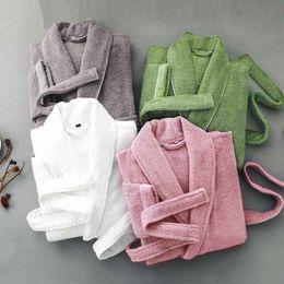 882c89dccd Men s Winter Cotton Terry Bathrobe Warm Soft Hooded Toweled Bath Robe Male  Grey White Kimono Long Dressing Gown Autumn
