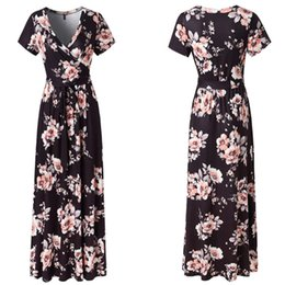 Print Dresses Neck For Evening NZ - New Spring Fashion Women Sexy Short Sleeve V-Neck Flower Print Evening Party Prom Swing Long Ladies Dresses For Female