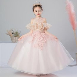 Wholesale fluffy tutus for girls for sale - Group buy 2019 New Glizt Fluffy Lace Flower Girl Dresses for Wedding Beaded Off the Shoulder Party Dress First Communion Dress For Princess Party