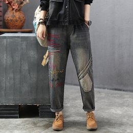cotton patchwork coats for women UK - Women Jeans Patchwork Pockets Embroidery Denim Pants Bottoms Big Loose Long Retro Vintage Fashion Casual for Autumn BO69192219