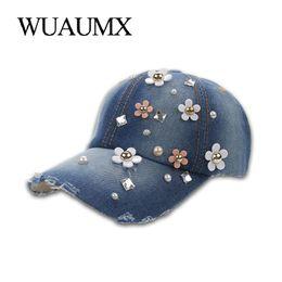 Wuaumx Rhinestones Women s Baseball Caps Handmade Floral Hat For Girls Crystal  Cap Curved Peak Visor Hip Hop Snapback Cap Female  319672 ce232ebfe0bd