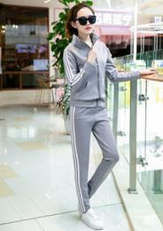$enCountryForm.capitalKeyWord NZ - Hot sale M-5XL fashion Hooded Women Hip Hop suit Hoodies Sweatshirts stripe Baseball uniform Sport Tracksuits sweatshirt +pant suit