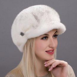 Ladies fuLL cap online shopping - Russia autumn and winter women s fur caps real full mink cap diamonds high quality elegant ladies beret hat DHY17 A