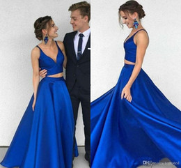$enCountryForm.capitalKeyWord NZ - New Stylish Two Pieces Prom Dresses Deep V-Neck Elegant A Line Special Occasion Dresses Plus Size Formal Party Evening Gowns Cheap Vestidos