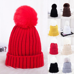 $enCountryForm.capitalKeyWord Australia - Knitted Hat Autumn&Winter Korean Style Woolen Hat Thick Warm Parent Child Cap With Faux Fur Pompon Multicolor Simple Casual
