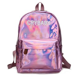 $enCountryForm.capitalKeyWord Australia - Designer-Hot Sale Embroidery Letters Crybaby Hologram Laser Backpack Women Soft PU Leather Backpack School Bags For Girls Free Shipping