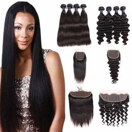 lace frontal bundles brown ombre hair 2019 - Cheap Brazilian Virgin Hair Straight 4 Bundles With Lace Frontal Closure Malaysian Human Hair Loose Deep Bundles With 4X