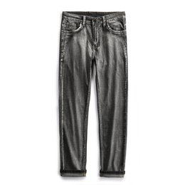 Dark Blue Coat Pant UK - 2019 Casual Male Denim Pants Straight Slim Fit Dark Blue Jeans Men Quality Brand Business Men's Trousers Yong Man
