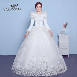 wholesale Long Sleeves Winter Wedding Dress with Shawl Lace Appliques  Sequin Invisible zipper Bridal Gowns Vestido De Novias 20 afc7860930dc