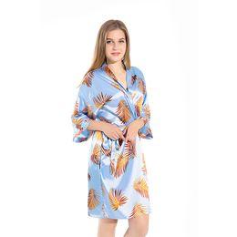 Robes Wholesalers UK - Sexy Mini Sleepwear Print Blue Rayon Robe Women's Pajamas Sexy Bathrobe Dressing Gowns Women Bride Bridesmaid Wedding Robes