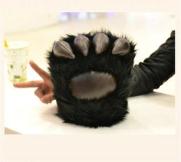 claw game NZ - Winter Wolves Gloves Black Bear Claw Plush Toys Warm Hand Bear paw gloves birthday Gifts