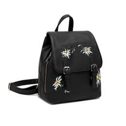$enCountryForm.capitalKeyWord NZ - THINKTHENDO Women Backpack Bags Purse PU Leather Girls Flowers Embroidery Casual Travel Rucksack School Bags for Teenage Girls