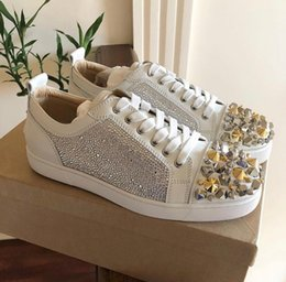 perfect sneakers 2020 - Top quality Studs Red Bottom Casual Shoes For Women,Men Strass Rhinestone Sneakers Perfect Brand Low Top Leisure Flats C