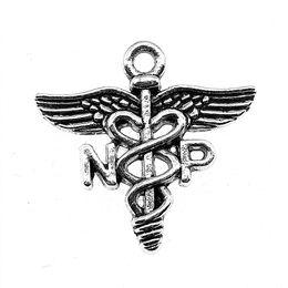 Silver Charm Medical Australia - 150pcs Charm Caduceus Medical Symbol Np Caduceus Medical Pendant Antique Silver Np Caduceus Medical Symbol Charms 19x20mm