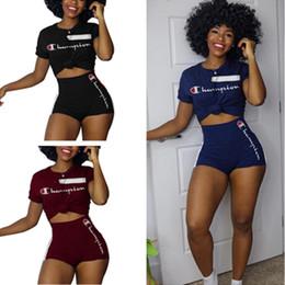 Wholesale Velvet Tracksuit Australia - Women Champions Letter Shorts Tracksuit Short Sleeve T Shirt Top Shorts Pants 2 Piece Summer Outfit Causal Home Sports Suit Sportswear B441