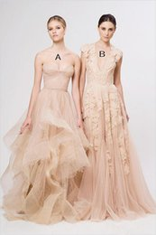 beach portrait NZ - Vintage prom Dresses Cap Sleeve Lace 2019 New Champagne Ruffles Beach prom Gowns Deep V neck Reem Acra Bridal Gowns vestidos de novia
