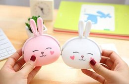 $enCountryForm.capitalKeyWord Australia - Wholesale- Super Kawaii Little Rabbit Silicone Coin Bag , 12*10CM Hand Coin Wallet Purse Pouch ; Lady Girl's Gift Pocket BAG Case Holder