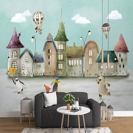 wallpaper cartoons Australia - Custom large mural 3D wallpaper Cartoon nordic creative cute animal child bedroom mural TV back wall decor deep 5D embossed