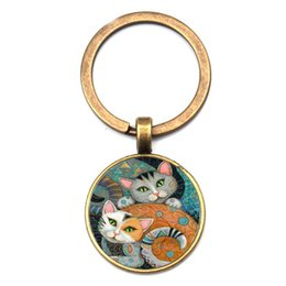 $enCountryForm.capitalKeyWord Australia - New Charm Two Cat Photos Men Women Key Chain Quality Bag Car Pendant Key Ring Fashion Oil Painting Animal Glass Chain Friend