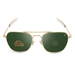 Chinese  Men Outdoor Driving Sunglasses AO Brand Trend Spectacles Metal Force Pilot Eyeglass Glass Box Land Green Tawny 10 5jl C1 manufacturers