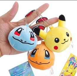 Dolls fur balls online shopping - Plush Pokemons Keychain Pikachu Key Chain Fur Keyring Elves ball Keyring Johnny Turtle Plush Dolls lol