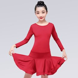 China 2019 Girl Long Sleeve Latin Dance Dress Carnival Jazz Dancewear Costume Kids Black Red Modern Latin Ballroom Party Dance Dresses supplier red jazz costumes suppliers
