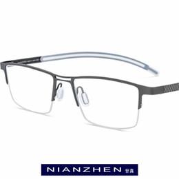 1c245fb52f Titanio puro Marco de anteojos Hombres Miopía Cuadrados Marcos ópticos Gafas  para hombres Ultra ligeros Medio Semi sin montura Gafas 1172