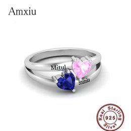 $enCountryForm.capitalKeyWord Australia - Amxiu Personalized Promise Ring For Her Women Double Birthstones Engagement Rings 925 Sterling Silver Engraved Name Ring Jewelry