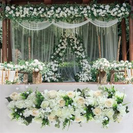 led wall mounts 2019 - 2019 New Flower Row Shopping Mall Decorates Table Decoration Wedding Terrace Road Leads Stage Artificial flower Freeship