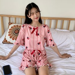 Summer Short Pants Set For Woman Australia - 2019 Summer Short Sleeve Pajama Set Kawaii Cartoon Print Sleepwear For Women Pajamas Short Pant 2 Pieces Set Nightwear Pijamas