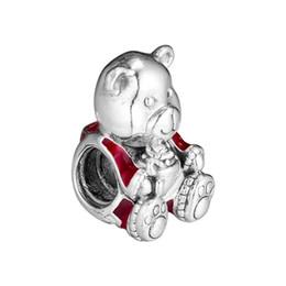 $enCountryForm.capitalKeyWord NZ - 2018 Winter New Authentic 925 Sterling Silver Bead Red Enamel Christmas Bear Charm Fit Pandora Bracelet Bangle DIY Jewelry Making