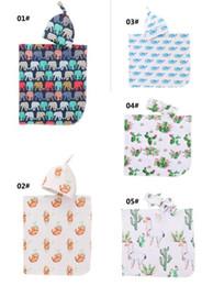 $enCountryForm.capitalKeyWord Australia - Infant Baby Swaddle Blanket Boys Girls alpaca Blankets+hat Floral Printed Soft Cotton Sleep Sack Cartoon Animal Sleeping Bags