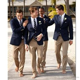 Royal Navy Buttons Australia - Navy Blue Slim Fit Men's Jacket and Champagne Pants Notched Two Buttons Groomsmen Tuxedos Tailor Man's Prom Suits Sets