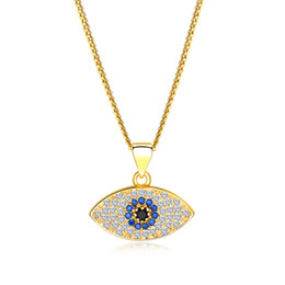 $enCountryForm.capitalKeyWord UK - Classic Turkey Blue Evil Eye necklace Shiny Cubic zirconia fake diamond Eye Pendant Gold platinum chain For women Luxury Jewelry accessories