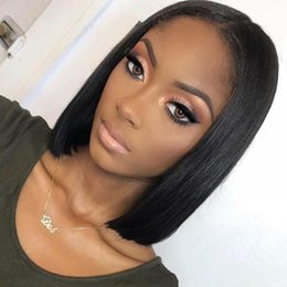 TransparenT wig online shopping - Straight Short Bob Lace Front Human Hair Wigs With Baby Hair Pre Plucked Cheap Raw Indian Glueless Lace Front Bob Wigs