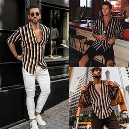 Wholesale vertical striped shirt mens resale online – Men Vertical Striped Shirt Striped Slim Fit Long Sleeve Casual Button Down Dress Shirts Mens High Street Shirts camisas hombre