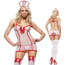 d77d8c5f8 Hot Sexy Lingerie Women Nurse Uniform Sm Mesh Perspective Temptation Erotic  Lingerie With Hat Cosplay Costumes
