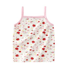 organic cotton tanks UK - New Girls Vest Underwear Cotton Print Kids Camisoles Cute Girls Sleeveless Tank Tops Quality Student Girls Cotton Undershirt