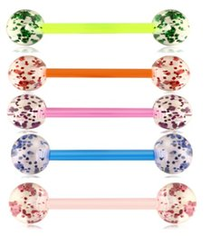 Earrings Ears Rings Australia - Flexible Acrylic UV Tongue Ring Nipple Barbell Ear Bar Piercing Cartilage Earring Wholesale Body Jewelry 14G for Woman