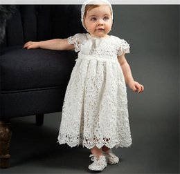 Baby Lace Crochet Shorts Australia - Baby girls party dresses kids lace hollow crochet embroidery dress 1 Years baby birthday Ball Gown toddlers baptism dress with hats hot sale