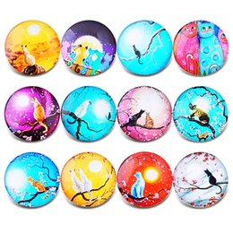 $enCountryForm.capitalKeyWord Australia - New Snap Jewelry Vintage Cat Pattern Glass Charm 18mm Snap Button Jewelry for 18mm Snaps Bracelet Wholesale