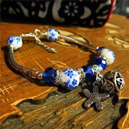 Chinese Porcelain Pendants Australia - Handmade Ethnic Vintage Silver Bracelets Chinese Style Ceramics Beads Charm Bangle Leaf Pendants Female Personality Jewelry