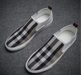 Discount italian canvas shoes - New style Men Canvas case grain Casual Driving Oxfords Shoes Men Loafers Moccasins Italian Shoes Men Flats black red siz