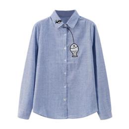 $enCountryForm.capitalKeyWord UK - Casual Cotton Women Long Sleeve Shirt Striped Tops Funny Fish Embroidery Women Blouses Blusas