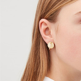 Small Hoop Earring Wholesale Australia - 1Pair Simple Gold Color Round Wafer Open Hoop Earrings Women Personality Glossy Small Circle Earrings Brincos Jewelry E525