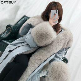 $enCountryForm.capitalKeyWord Australia - OFTBUY Oversized Fur Collar Duck Down Coat Real Fur Coat Winter Jacket Women Parka Natural Raccoon Fox Detachable Loose 2019