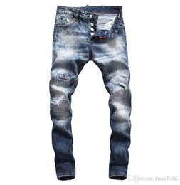 jeans pants style Australia - D2019 High quality fashion New Style Brand Men's Denim Jean Embroidery Tiger Pants Holes Jeans Zipper Men Stretch hole jeans #8639