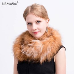 knitted fox scarf NZ - MS.MinShu Knit Fox Hair Scarf Inifinite style Genuine Fox Fur Ring Scarf for Women Winter Plush Real Fur Shawl Drop Shipping